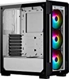 Corsair iCUE 220T RGB, Chasis Semitorre Inteligente ATX con Cristal Templado, Color Blanco