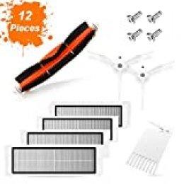 SAFETYON Accesorios Originales Robot Aspirador Mi 12 Piezas Xiaomi Recambio de Roborock s50 Vacuum 1/2, 1 Cepillo Principal +2 Cepillo Lateral +1 Auxiliar de Limpieza +4 Filtros HEPA +4 Tornillo