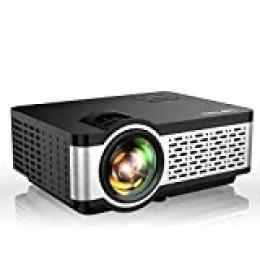 TOPTRO - Proyector mini portátil (5500 lúmenes, soporte Full HD 1080P, retroproyector LCD con altavoz HiFi, cubierta de metal, LED 60000 horas, cine en casa