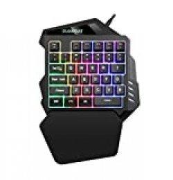 iAmotus Teclado Gaming para Una Sola Mano Ergonomica Reposamanos Rainbow LED Retroiluminación 35-Key Mini Portatil Teclado Profesional para Juegos per PC Windows/Mac(Negro)