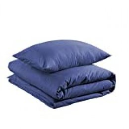 AmazonBasics - Juego de funda nórdica 100% algodón - 135 x 200 cm / 50 x 80 cm, Azul marino