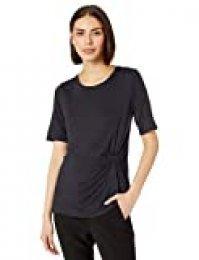 Marca Amazon - Lark & Ro - Camiseta de punto de manga corta con detalle de nudo lateral y cuello redondo para mujer