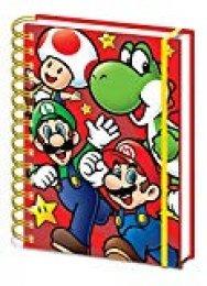 Super Mario - Cuaderno de espiral (tamaño A5), color rojo