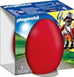 PLAYMOBIL- Ostereier Huevo Caballero+cañón, Color carbón (70086)