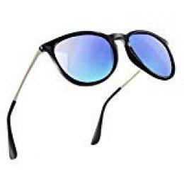 NWOUIIAY Anteojos de Sol de Hombres y Mujeres Modelo Clásico Casual con Lente TAC 100% UV 400 de Marco de Nylon Lentes de Ojo de Material Liviano pero Duradero (Azul)