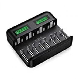 EBL Cargador de Pilas Inteligente, Cargador de batería de Ni-MH AA AAA C D, Universal Carga Rápida con Tipo C/Micro USB, Pantalla LCD, Ranura Independiente y Auto-Detección