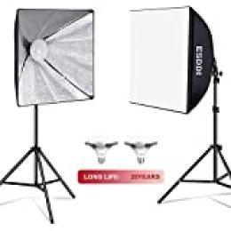ESDDI Softbox LED Fotografia Iluminacion Kit con 2 Bombillas de Luz 900W, 2 Softbox 50x70cm, 2 Tripodes Luz Continua para Estudio Fotográfico Profesional Conjunto
