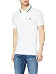 Calvin Klein CK Essential Tipping Slim Polo, Blanco (Bright White/Black Yaf), X-Large para Hombre