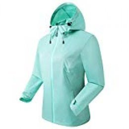 Eono Essentials - Chaqueta impermeable mujers, S (verde)