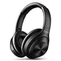 iTeknic - Auriculares Bluetooth inalámbricos con reducción de ruido, activos, ANC, auriculares estéreo, plegables, micrófono integrado, antiruido, compatible con iPhone y Android.
