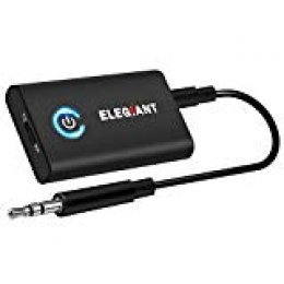 ELEGIANT Transmisor Bluetooth 5.0, Adaptador 2 en 1 para TV Coche, Jack 3,5 mm Receptor Audio Música Baja Latencia en Modo RX TX, Conexión multipunto para Altavoz MP3/MP4 DVD Sistema Estéreo etc.