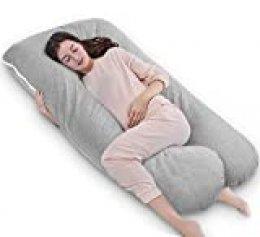 QUEEN ROSE Almohada en Forma de U, Almohada para el Embarazo con Funda Cool Jersey, Almohada para Todo el Cuerpo para Mujeres Embarazadas (Gris)