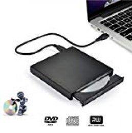 Grabadora DVD/CD Externa, iAmotus Lector DVD Portátil USB 2.0 CD DVD+/-RW ROM Drive Player Unidad USB Optico Externa Reproductor para Windows Mac OS Laptop Apple Macbook Air y Otros Sistemas - Negro