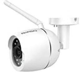 AKASO Cámara de Vigilancia Exterior Cámara IP WiFi de Seguridad 2MP 1080P Compatible con Alexa y Google Home Visión Nocturna Audio Bidireccional Detección de Movimiento, Cuerpo Metálico (B70)