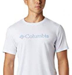 Columbia Zero Rules Camisa Técnica De Manga Corta con Estampado, Hombre, Blanco (White CSC Topo Lines), S