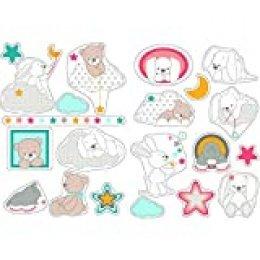 Nattou Pegatinas de pared para la habitación de los niños, 2 Hojas, Mia y Basile, 50 x 70 cm, Blanco/Marrón/Azul/Rosa