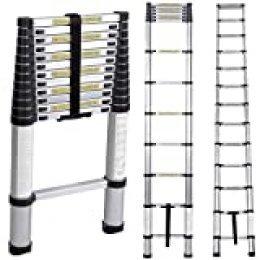 soges 3.8M Escalera telescópica Aluminio Extensión telescópica Escalera tipo loft Escalera multiusos Portátil plegable KS-JF-001