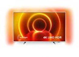 Televisor 4K UHD Ambilight Philips 55PUS7855/12 de 55 pulgadas (P5 Perfect Picture Engine, Asistente Alexa integrada, Smart TV, Función de control por voz), Color plata claro (modelo de 2020/2021)