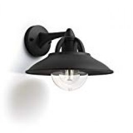 Philips myGarden Cormorant - Aplique de exterior, casquillo E27, 42 W, aluminio, color negro, diseñado para jardines y patios