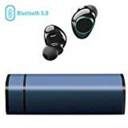 Muzili Auriculares Bluetooth, Inalámbrico Bluetooth Auriculares con Cancelación de Ruido Pantalla Táctil IP65 Auriculares con Micrófono para iPhone y Android con Portátil Caja de Carga (Blue)