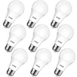 LVWIT Bombillas LED A60, Casquillo E27, 8.5W equivalente a 60W, 6500K Luz Blanca Fría, 806 lm, Bajo consumo, No regulable - Pack de 9 Unidades.
