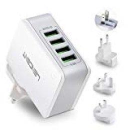 Cargador USB Multipuerto, LENCENT Ladron Enchufes, 4.4A 5V Adaptador para Viaje, Adaptadores de Enchufe Universal inglés/eeuu/EU/AUS para iPad, iPhone, Samsung Teléfonos Inteligentes