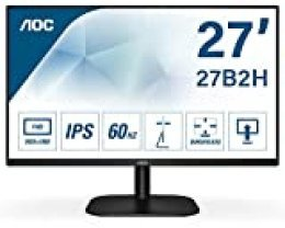 AOC 27B2H - Monitor para PC de 27 Pulgadas Full HD 75Hz (1920x1080, IPS, Mega Infinity DCR, Flickerfree, LowBlue Light, VESA, D-Sub, HDMI), Negro (27B2H)