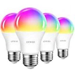 4 Unidades 10W Bombillas Inteligentes LED E27 RGB WiFi, A60 Equivalente a 80W, 806 Lúmenes, Funciona con Alexa, Google Home y Smart Life, ANWIO.