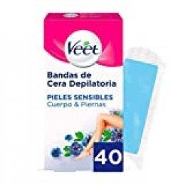 Veet Bandas de Cera Fria Depilatoria para Depilación de Cuerpo y Piernas con Aceite de Almendras, Easy Gelwax, Pieles Sensibles, 40 Bandas