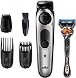 Braun Recortadora de Barba BT5265, Máquina Cortar Pelo, Recortadora de Barba y Cortapelos, para Hombre, 39 Ajustes de Longitud, Color Negro/Metal Plateado