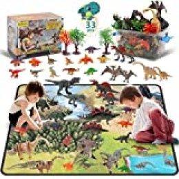 DigHealth 33 Pcs Dinosaurios Juguetes, Figura de Dinosaurios con Tapete de Juego y Arboles, Incluir T-Rex, Triceratops, Pterosauria para Niños