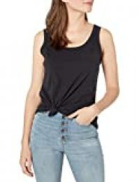 Goodthreads Vintage Cotton Pocket Tank Novelty Tops, Negro, L