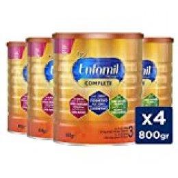 Enfamil Complete 3 - Leche Infantil de Continuación para Lactantes Niños de 1 a 3 Años, Pack Mensual 4 latas x 800 gr