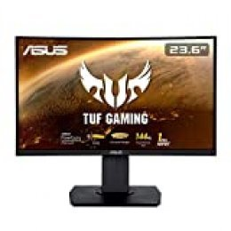 "ASUS TUF Gaming VG24VQ - Monitor Curvo para Juegos de 23.6"" FHD (1920x1080) 144 Hz, Extreme Low Motion Blur, FreeSync, 1 ms MPRT, Shadow Boost"
