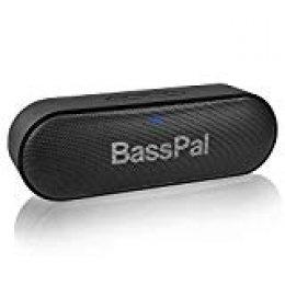 Altavoz Portátil Bluetooth BassPal SoundRo, Altavoz Wireless con HD Estéreo, Potente Bajo, 2×6W, Juego Las 24 Horas, Tarjeta TF, Micrófono Incorporado, Subwoofer Exterior para la Casa, Fiesta, Viajes