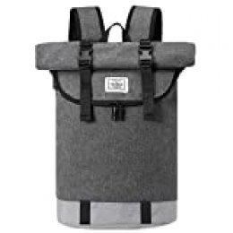 JOSEKO - Mochila para Ordenador portátil, Ligera, Resistente al Agua, con Compartimento para Ordenador portátil, para Hombres y Mujeres, con Gran Capacidad y Puerto de Carga USB (Gris)