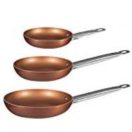 BERGNER Q2410 - Set 3 sartenes 20,24,28 aluminio prensado Professional Chef Copper plus