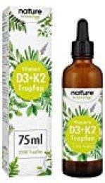 Vitamina D3 + K2 75ml 2550 Gotas - Premium VitaMK7 de Gnosis® 99,7% All Trans + Vitamina D3 (1000 IU) - Especialmente biodisponible - Producción probada en laboratorio en Alemania