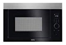 AEG MBE2657DEM Microondas Integrable con Grill de 800W, Display LED gráfico táctil rotativo, Apertura electrónica, Programas de cocción, Marco Integrado, 900W, Negro/ Inox, 26L