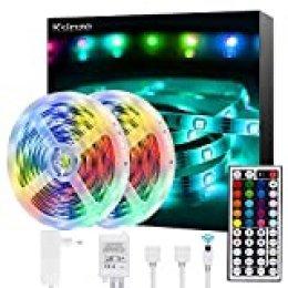 Ksipze Tiras LED 10M Luces LED Habitacion 20 Colores 8 Modos para Tira Led, Dormitorio, TV, Hogar, Cocina, Decoración Navideña, Tira de Iluminación LED RGB Brillante,2pcsX5m