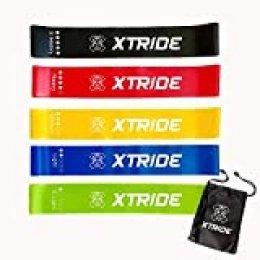 Xtride Bandas Elasticas Fitness - Bandas de Resistencia. Set de 5 Cintas de Latex con Distintos Niveles para Fitness, Musculación, Yoga, Crossfit, Pilates y Fisioterapia