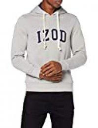 Izod Applique Fleece Hoodie Sudadera con Capucha, Gris (LT Grey HTR 052), L para Hombre