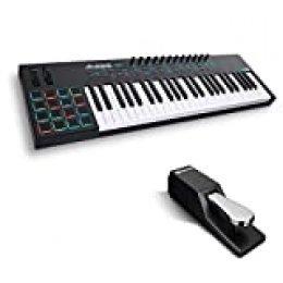 Alesis VI49 + M-Audio SP-2 - Teclado Controlador MIDI USB de 49 Teclas, Pads, Mandos y Botones Asignables, Salida MIDI 5 Puntas y paquete de software + Pedal de sostenido universal de estilo piano