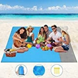 Alfombras de Playa Manta de Picnic para Playa - Alfombrilla de Playa Impermeable Anti arena de 210x200 cm con 4 estacas fijas, Manta de Picnic para Playa, Picnic, Senderismo, Camping y más