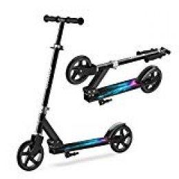 ENKEEO Patinete Plegable Scooter Kick con Manillar Ajustable, Ruedas Extra-Grande, Sistema de Frenos Inteligente y Seguro, 176 lbs/80 kg de Capacidad, Negro