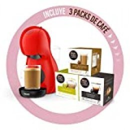 De'Longhi Dolce Gusto Piccolo XS EDG210.R - Cafetera de cápsulas con 15 bares de presión, 0.8L, con tres packs de café, color rojo