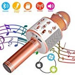 Suntop Micrófono Karaoke Bluetooth, Micrófono Inalámbrico Bluetooth, Bluetooth Altavoz, Micrófono Karaoke Portátil para KTV, Micrófono Wireless Bluetooth Compatibile con PC/iPad/iPhone (Rose Gold)