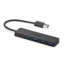 Anker 4 puertos HUB USB 3.0 Ultra Slim Data Hub para Macbook, Mac Pro / mini, iMac, Surface Pro, XPS, PC portátil, unidades flash USB, HDD móvil y más