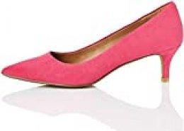 Marca Amazon - find. CONNIE-S2C1-Court Zapatos de tacón con Punta Cerrada, Pink (Hot Pink), 37 EU