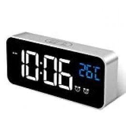 MOSUO Reloj Despertador Digital, LED Despertador Electrónicos Espejo con Temperatura y 2 Alarma, Snooze, Sonido y Brillos Regulable, Carga USB para Dormitorio, Oficina, Plata